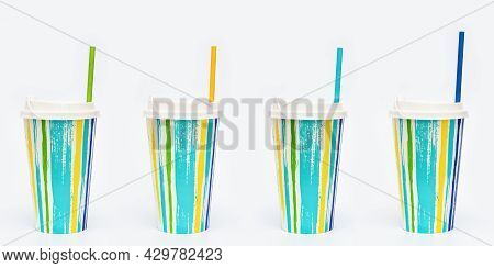 Set With Take Away Colored Paper Coffee Cups With Paper Drinking Straw On Light White Background. Br