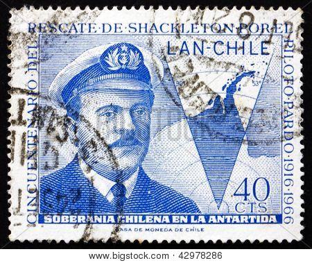 Postage Stamp Chile 1967 Capt. Luis Pardo