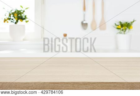 Tabletop On Blur Kitchen Room Background For Montage Product Display