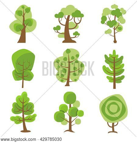 Tree Logo Flat Cartoon Decorative Icons Set On White Background With Deciduous And Coniferous Types