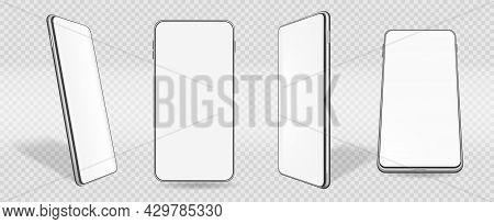 Mobile Phone Mockup, Smartphone With White Display Screen. Realistic Smartphones In Perspective Mock