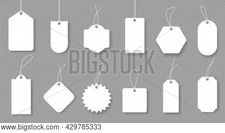 Blank Price Labels, White Luggage Badges And Gift Tags. Realistic Sale Discount Label Mockup, Empty