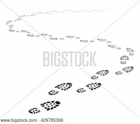 Footstep Path In Perspective, Walking Away Footprint Trail. Trace Of Human Foot Print Silhouettes, S