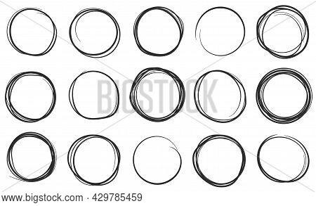 Hand Drawn Circles, Circular Brush Pen Stroke Doodles. Scribble Circle, Round Pencil Frame, Sketch B