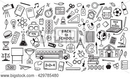 School Doodles Drawings, Hand Drawn Kids Education Elements. School Supplies And Stationery, Books,