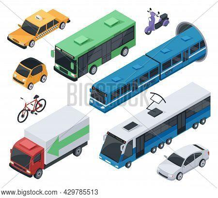 Isometric City Vehicles And Public Transport Car, Train, Bus. Urban Transportation Bike, Motorcycle,