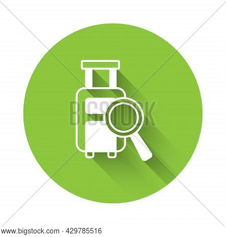 White Airline Service Of Finding Lost Baggage Icon Isolated With Long Shadow Background. Search Lugg