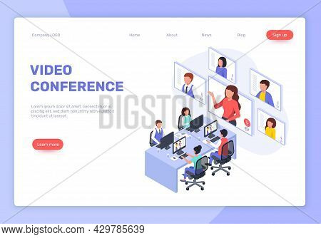 Isometric Webinar, Video Conference Or Meeting, Online Business Training. Businesspeople Talking To