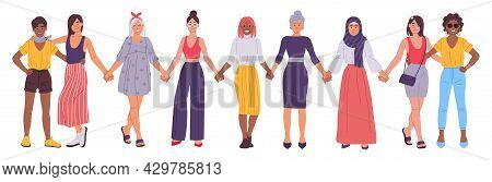 Women Holding Hands, Girlfriends Standing Together, Sisterhood Concept. Diverse Group Of Female Frie