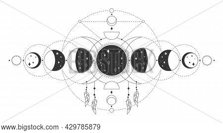 Magic Moon Phases, Mystical Sacred Lunar Phase. Occult Astrology Tattoo Drawing With Esoteric Geomet
