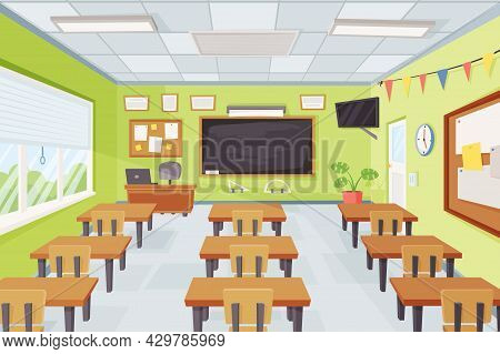 Cartoon Empty School Classroom Interior With Desks And Chalkboard. Elementary Class With Furniture T
