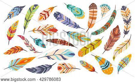 Tribal Feathers, Boho Ethnic Stylized Bird Feather. Flat Cartoon Elegant Colorful Bohemian Featherin