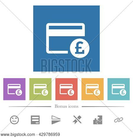 Pound Credit Card Flat White Icons In Square Backgrounds. 6 Bonus Icons Included.