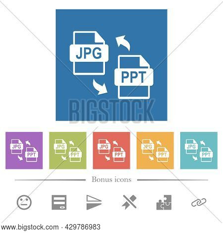 Jpg Ppt File Conversion Flat White Icons In Square Backgrounds. 6 Bonus Icons Included.