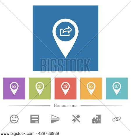 Export Gps Map Location Flat White Icons In Square Backgrounds. 6 Bonus Icons Included.
