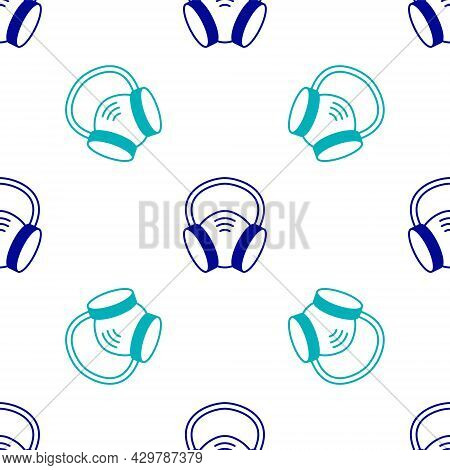 Blue Gas Mask Icon Isolated Seamless Pattern On White Background. Respirator Sign. Vector