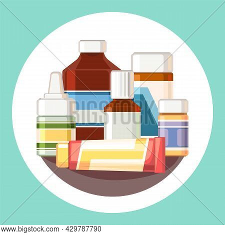 Medicines. Still Life With Bottles, Ointment, Capsules. Medicinal Drugs. Pharmaceuticals. First Aid