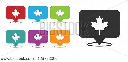 Black Canadian Maple Leaf Icon Isolated On White Background. Canada Symbol Maple Leaf. Set Icons Col