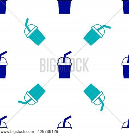 Blue Paper Glass With Drinking Straw And Water Icon Isolated Seamless Pattern On White Background. S