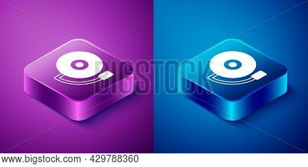 Isometric Ringing Alarm Bell Icon Isolated On Blue And Purple Background. Fire Alarm System. Service