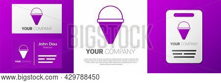 Logotype Fire Cone Bucket Icon Isolated On White Background. Metal Cone Bucket Empty Or With Water F