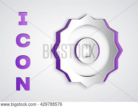 Paper Cut Circular Saw Blade Icon Isolated On Grey Background. Saw Wheel. Paper Art Style. Vector