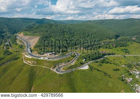 The Baikal Serpentine Road - Aerial View Of Natural Mountain Valley With Serpantine Road, Trans-sibe