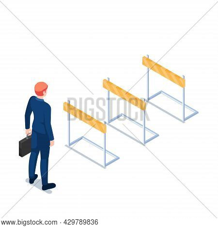 Flat 3d Isometric Businessman Holding Briefcase Standing In Front Of Hurdle Race Obstacle. Business