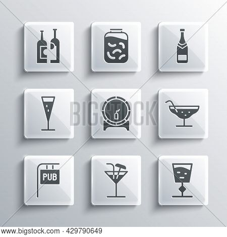 Set Cocktail, Wine Glass, Wooden Barrel On Rack, Street Signboard With Pub, Glass Of Champagne, Bott