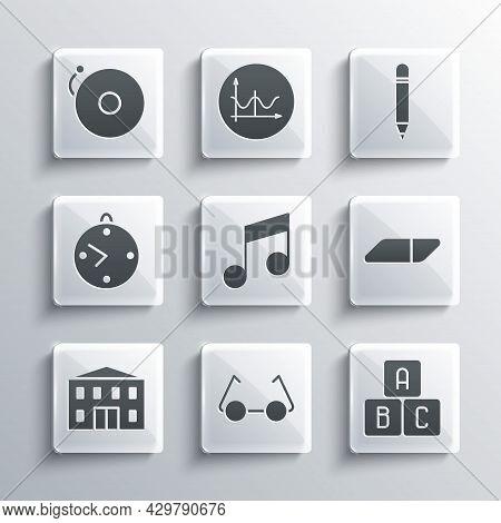 Set Glasses, Abc Blocks, Eraser Or Rubber, Music Note, Tone, School Building, Clock, Ringing Alarm B