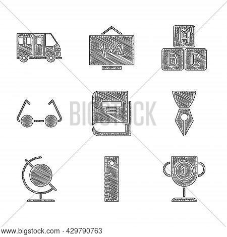 Set Book, Ruler, Award Cup, Fountain Pen Nib, Earth Globe, Glasses, Abc Blocks And School Bus Icon.