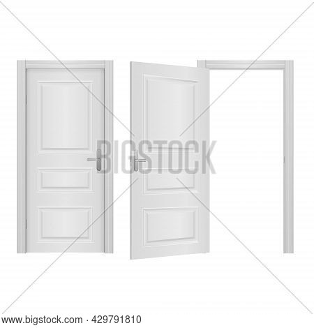 Open, Closed Front Door Of The House.