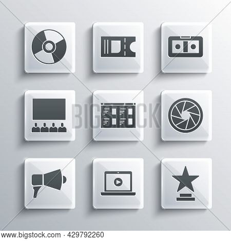 Set Online Play Video, Movie Trophy, Camera Shutter, Megaphone, Cinema Auditorium With Screen, Cd Dv
