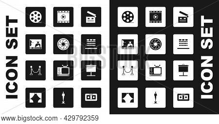 Set Movie Clapper, Camera Shutter, Online Play Video, Film Reel, Cinema Auditorium With Seats, Play