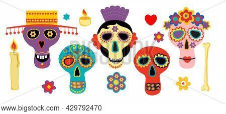 Dead Day Skulls. Mexican Sugar Human Head Bones Halloween Tattoo Dia De Los Muertos Vector Set. Dia