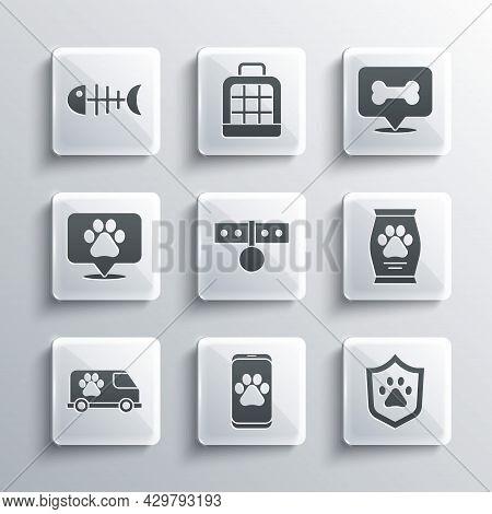 Set Veterinary Clinic, Animal Health Insurance, Bag Of Food, Collar With Name Tag, Ambulance, Locati