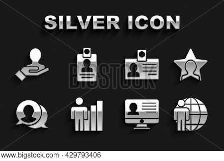 Set Productive Human, Head Hunting, Monitor With Resume, Speech Bubble Chat, Identification Badge, H