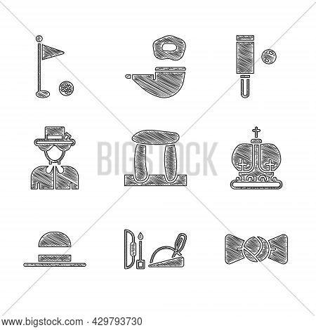 Set Stonehenge, Robin Hood Hat, Bow Tie, British Crown, Elegant Women, Queen Elizabeth, Wood Cricket