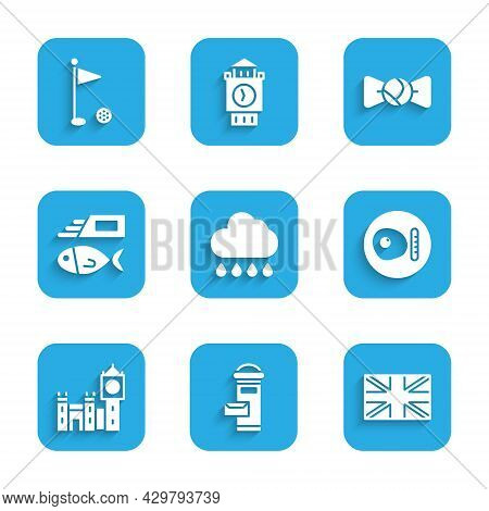 Set Cloud With Rain, London Mail Box, Flag Of Great Britain, British Breakfast, Big Ben Tower, Fish