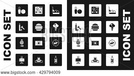 Set Bumper Car, Burger, Striker Attraction With Hammer, Bowling Pin And Ball, Ice Cream Waffle Cone,