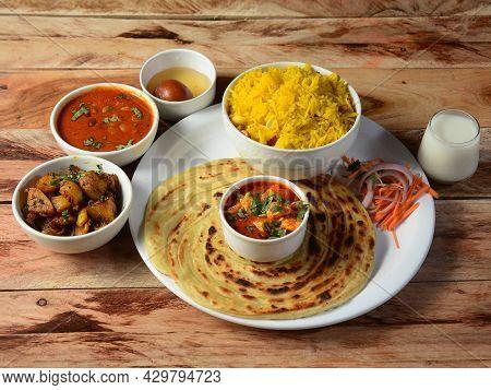 Maharaja Veg Thali From An Indian Cuisine, Food Platter Consists Variety Of Veggies,paneer Dish, Len