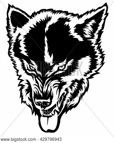 Angry Wolf Shows Teeth, Wolf Grin, Wolf Head, Black And White Drawing For T-shirt