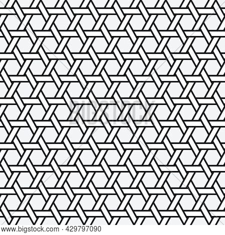 Traditional Octagonal Woven Bamboo Seamless Pattern Vector Template