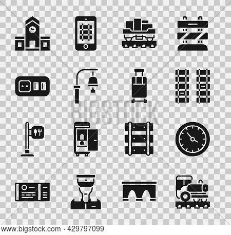 Set Vintage Locomotive, Train Station Clock, Railway, Railroad Track, Cargo Train Wagon, Bell, Elect