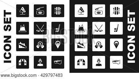 Set Ski And Sticks, Ice Hockey, Mountains, Road Sign Avalanches, Puck, Winter Fishing, Location With