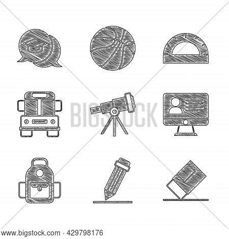 Set Telescope, Pencil With Eraser, Eraser Or Rubber, Online Class, School Backpack, Bus, Protractor