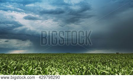 Bad Weather Cloudy Rainy Sky. Dramatic Sky With Dark Clouds In Rain Day. Storm And Clouds Above Summ