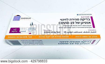 Tel Aviv, Israel, Augost 8, 2021: Coronavirus Sars Testing At Home. Covid-19 Rapid Test Cassette For