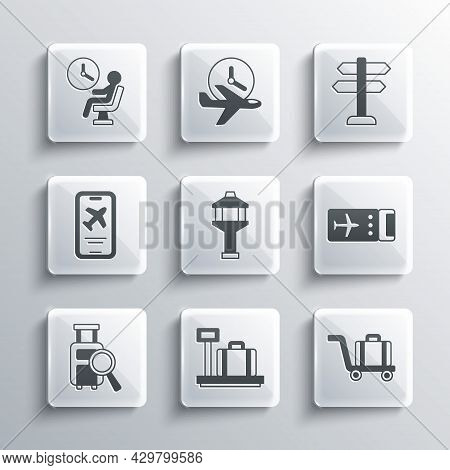 Set Scale With Suitcase, Trolley Baggage, Airline Ticket, Airport Control Tower, Lost, Mobile, Human
