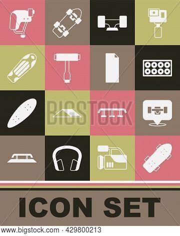 Set Skateboard, Wheel, T Tool, Deck, Helmet And Grip Tape On Skateboard Icon. Vector